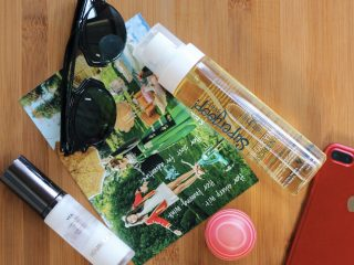 dark skin beauty blogger SUPERGOOP! Sun-Defying Sunscreen Oil Broad Spectrum SPF 50 EOS Grapefruit Lip Balm SPF 30 HOURGLASS Veil Mineral Primer