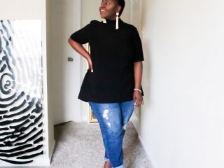 Style tips, How Boyfriend Jeans, plus size, Curvy, preppy plus size fashion blogs 2017, beautiful curvy girls, how to fill the eye brow of a dark skin, beautiful plus size dark skin girls, plus size black bloggers, clothes for curvy girls, curvy girl fashion clothing, plus blog, plus size fashion tips, plus size women blog, curvy women fashion, plus blog, curvy girl fashion blog, style plus curves, plus size fashion instagram, curvy girl blog, bbw blog, plus size street fashion, plus size beauty blog, plus size fashion ideas, curvy girl summer outfits, plus size fashion magazine, plus fashion bloggers, zara, Rosie the riveter shirt; Emilia embroidered beaded clutch; Vince Camuto heels; Lula shell drop earrings; Aldo Galigossi sunnies, tenge collection, codexmode, zara, asos, lane bryant